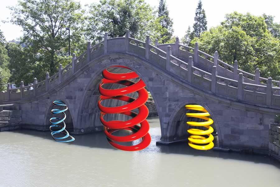 Studio (di) molle: Molle su Ponte a Cicheng, Cina