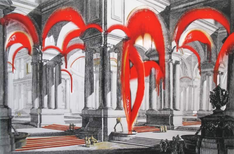 omaggio a Piranesi: Gruppo di scale ornato di magnifica Architettura